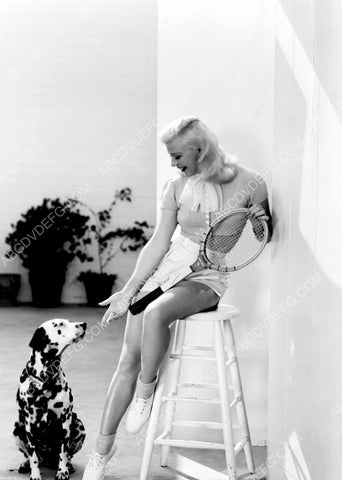athletic gorgeous Ginger Rogers takes her dalmation dog to play tennis 8b20-9973