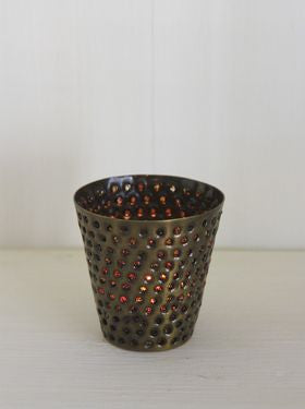 Drilled Metal Votive with Orange Pearls