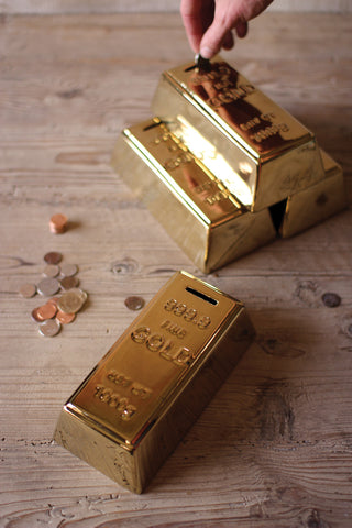 Ceramic Gold Brick Bank