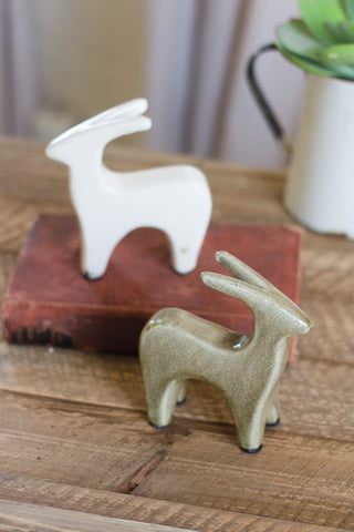 Ceramic Deer Statuette: White