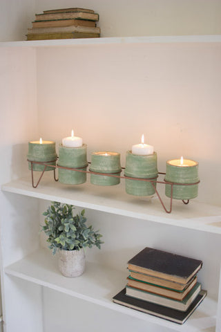 Green Clay Candle Holders/Planters with Copper Finish Base - Set of 5