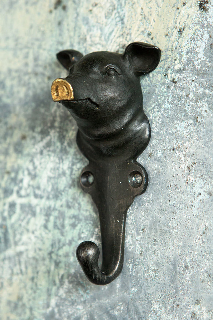 Wall Hook: Pig with Gold Nose