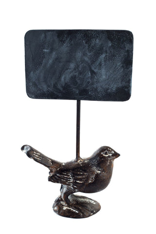Cast Iron Bird with Chalk Board Sign