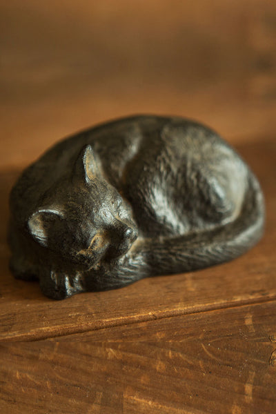 Cast Iron Statuette: Cat Sleeping