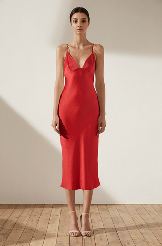Adonis Bias Slip Midi Dress Ruby - Size 8