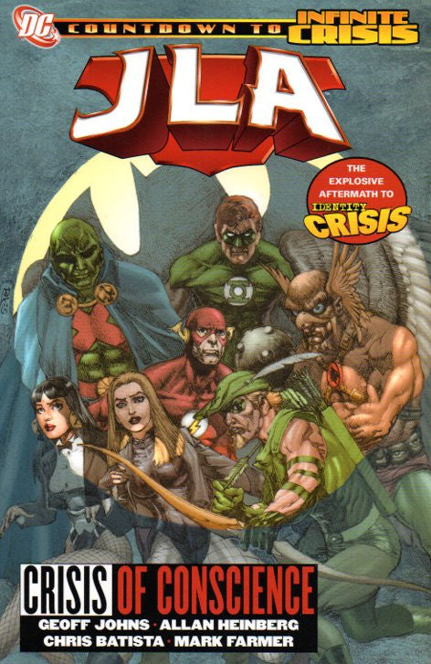 JLA: Crisis of Conscience by Geoff Johns and Chris Batista Front