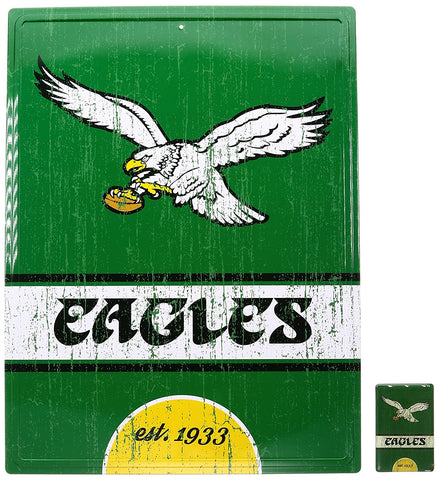 Philadelphia Eagles NFL Tin Sign and Magnet Home Décor Set