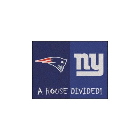 "New England Patriots/New York Giants NFL House Divided NFL ""All-Star"" Floor Mat (34""x45"")"