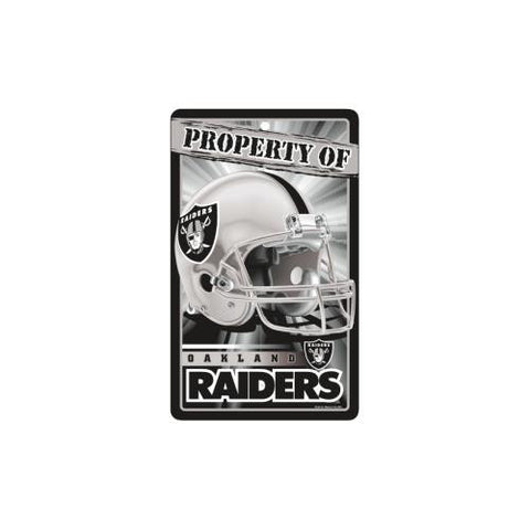 "Oakland Raiders NFL ""Property Of"" Plastic Sign (7.25in x 12in)"