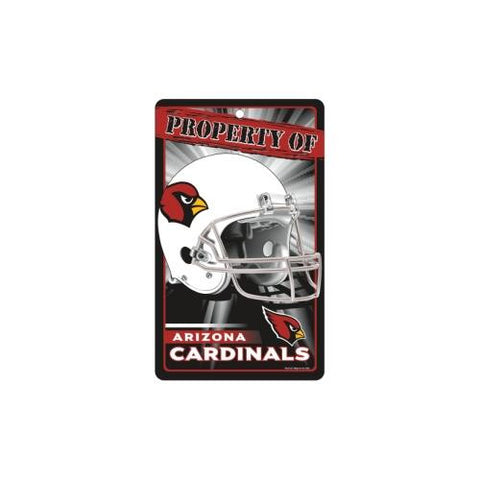 "Arizona Cardinals NFL ""Property Of"" Plastic Sign (7.25in x 12in)"