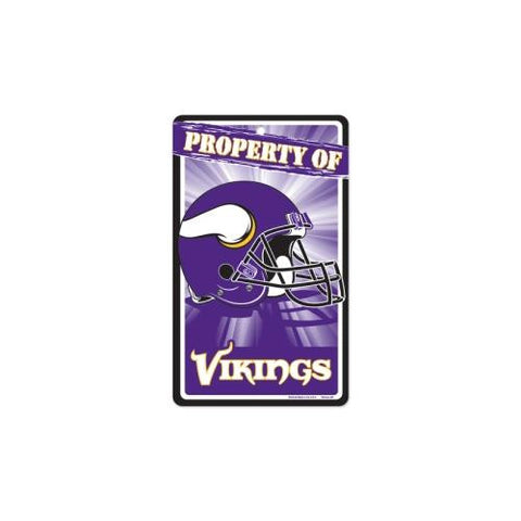 "Minnesota Vikings NFL ""Property Of"" Plastic Sign (7.25in x 12in)"