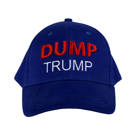 Dump President Trump Velcro Back Baseball Cap Red White and Blue