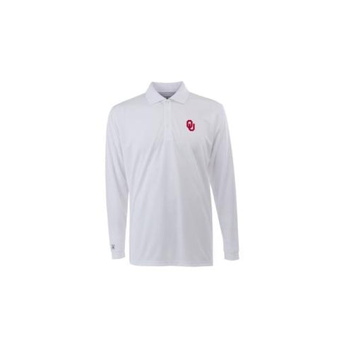 "Oklahoma Sooners NCAA ""L/S Exceed"" Men's Long Sleeve Polo (White) (Medium)"