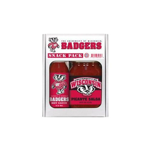 Wisconsin Badgers NCAA Snack Pack (5oz Hot Sauce, 16oz Picante Salsa)