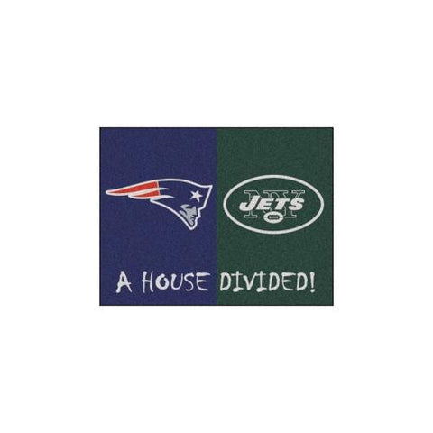 "New England Patriots/New York Jets NFL House Divided NFL ""All-Star"" Floor Mat (34""x45"")"