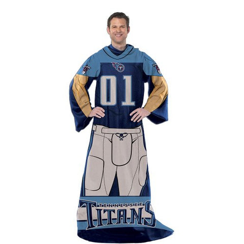 Tennessee Titans Comfy Throw Blanket With Sleeves - Player Design