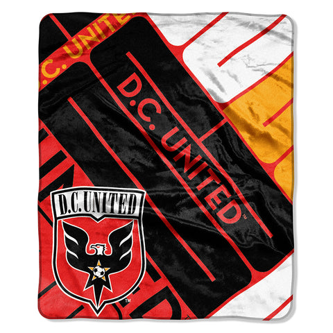 "DC United MLS Royal Plush Raschel Blanket (Scramble Series) (50""x60"")"