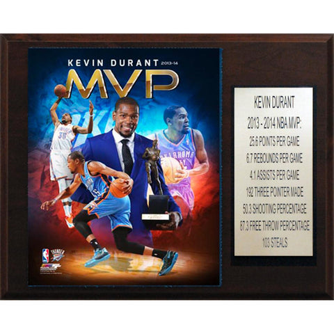 NBA 12x15 Kevin Durant Oklahoma City Thunder 2013 14 MVP Plaque