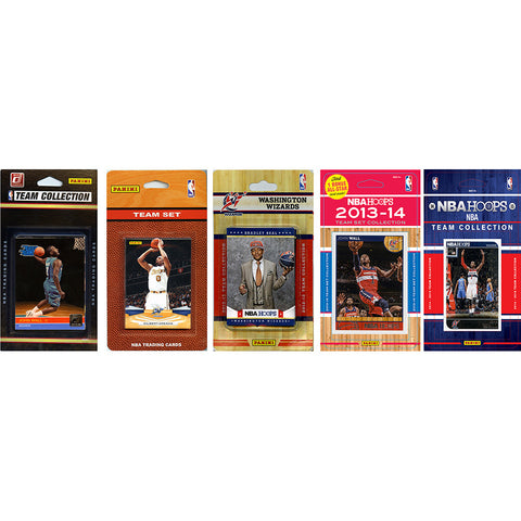 NBA Washington Wizards 5 Different Licensed Trading Card Team Sets