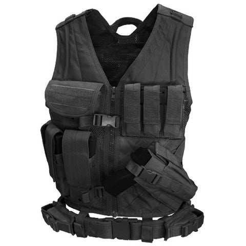Cross Draw Tactical Vest Color: Black /