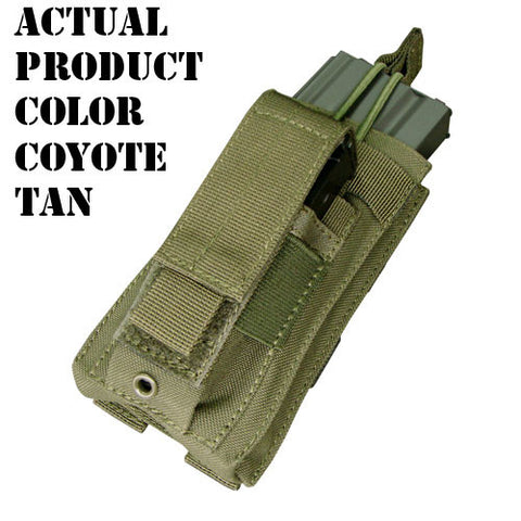 Kangaroo Magazine Pouch holds 1 M4/M16 Mag, Pistol Mag Color: Tan