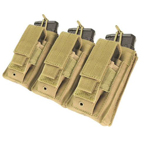 Triple Kangaroo Magazine Pouch holds 3 M4/M16 Mag, Pistol Mag Color: Tan