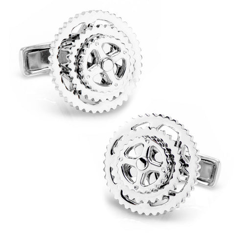 Cyclist Wheel Ravi Ratan Collection Sterling Silver Executive Cufflinks w/ Jewelry Box