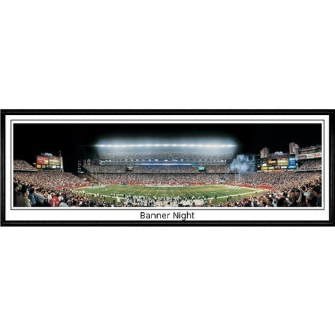 New England Patriots Banner Night 13.5 x39 Standard Black Frame