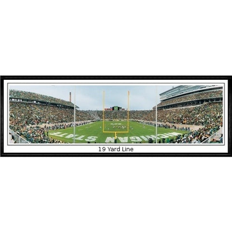 Michigan State Spartans End Zone 13.5 x39 Standard Black Frame