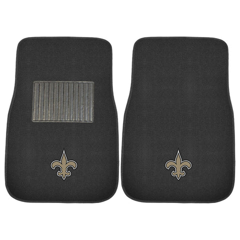 New Orleans Saints NFL 2 pc Embroidered Car Mat Set