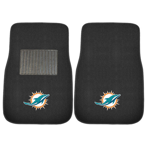 Miami Dolphins NFL 2 pc Embroidered Car Mat Set