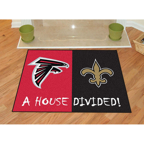 Atlanta Falcons/New Orleans Saints NFL House Divided All Star Floor Mat 34 x45