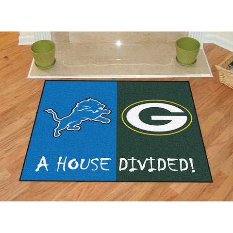 Detroit Lions/Green Bay Packers NFL House Divided All Star Floor Mat 34 x45
