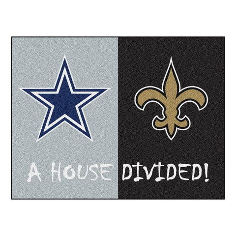 Dallas Cowboys/New Orleans Saints NFL House Divided All Star Floor Mat 34 x45