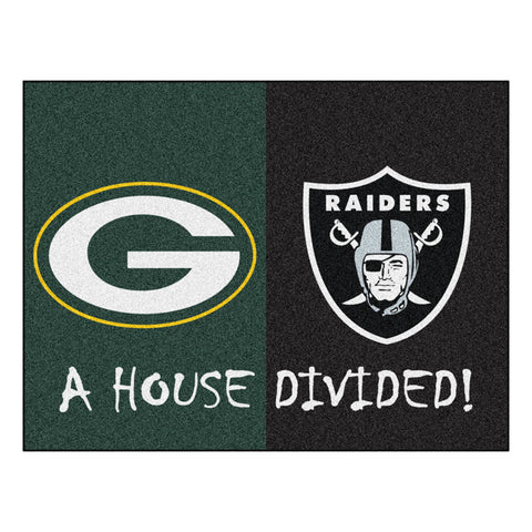 Green Bay Packers/Oakland Raiders NFL House Divided All Star Floor Mat 34 x45