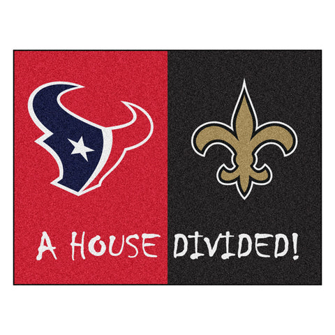 Houston Texans/New Orleans Saints NFL House Divided All Star Floor Mat 34 x45