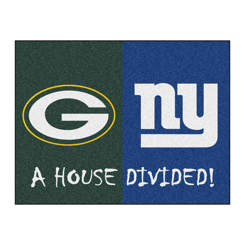 Green Bay Packers/New York Giants NFL House Divided All Star Floor Mat 34 x45
