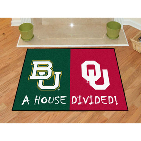 Baylor Bears/Oklahoma Sooners NCAA House Divided NFL All Star Floor Mat 34 x45