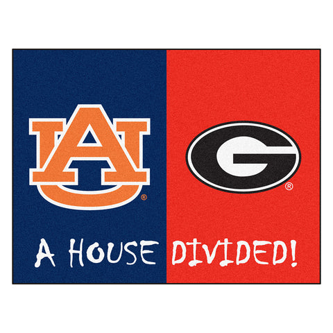 Auburn Tigers/Georgia Bulldogs NCAA House Divided All Star Floor Mat 34 x45