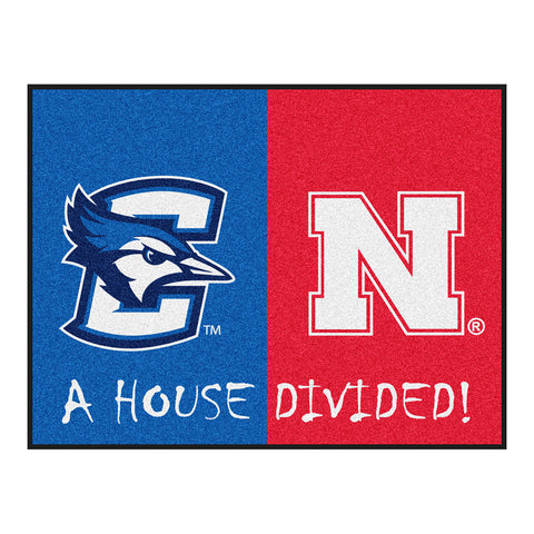 Creighton Bluejays/Nebraska Cornhuskers NCAA House Divided All Star Floor Mat 34 x45