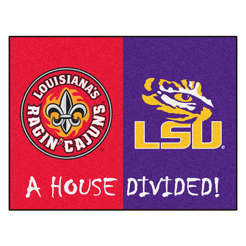 Louisiana Lafayette Ragin Cajuns/LSU Tigers NCAA House Divided All Star Floor Mat 34 x45