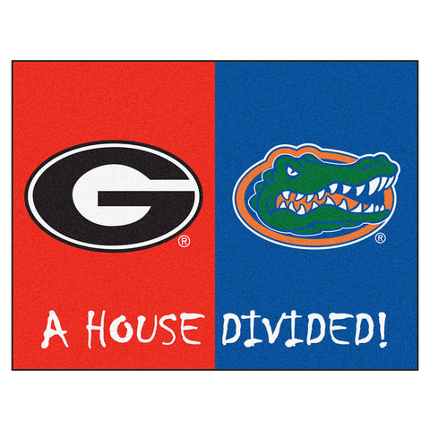 Florida Gators/Georgia Bulldogs NCAA House Divided All Star Floor Mat 34 x45