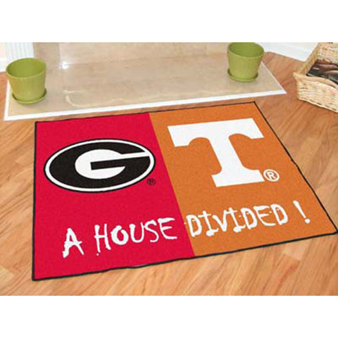 Georgia Bulldogs /Texas Longhorns NCAA House Divided All Star Floor Mat 34 x45