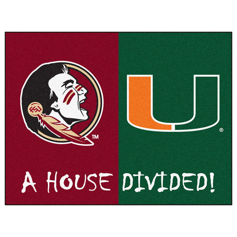 Florida State Seminoles / Miami Hurricanes House Divided NCAA All Star Floor Mat 34 x45