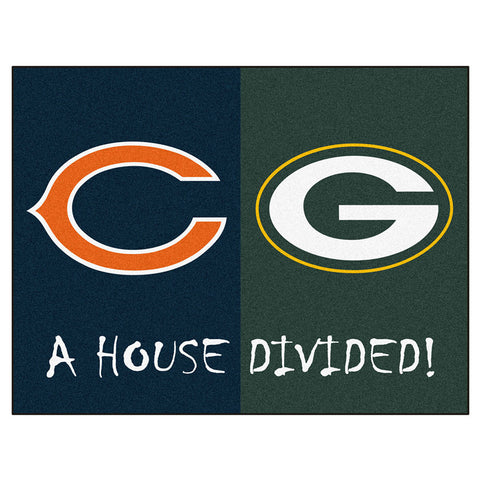 Chicago Bears / Green Bay Packers House Divided NFL All Star Floor Mat 34 x45