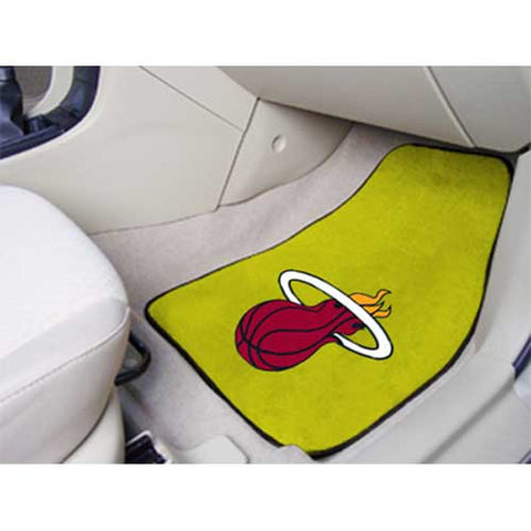 Miami Heat NBA 2 Piece Printed Carpet Car Mats 18x27
