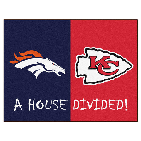 Denver Broncos/Kansas City Chiefs NFL House Divided All Star Floor Mat 34 x45
