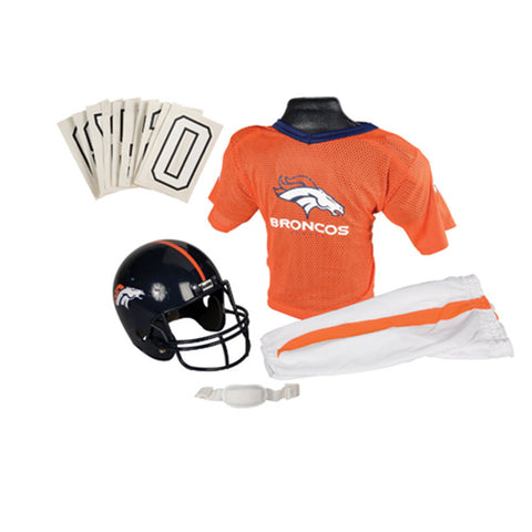 Denver Broncos Youth NFL Deluxe Helmet and Uniform Set