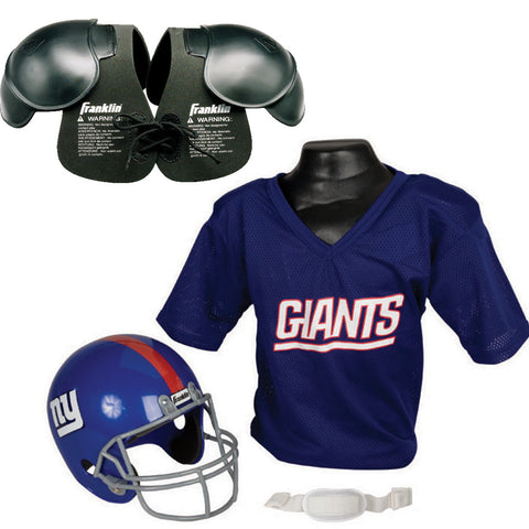 New York Giants NFL Helmet and Jersey SET with Shoulder Pads