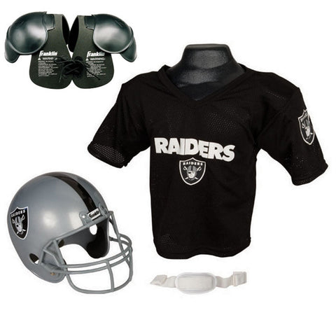 Oakland Raiders Youth NFL Helmet and Jersey SET with Shoulder Pads